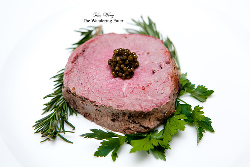 LaFrieda's Chateaubriand topped with Osetra Caviar from Caviar Star