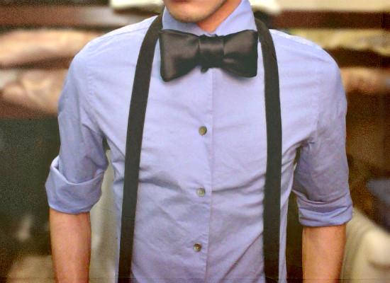 black bowtie suspenders express blue dress shirt