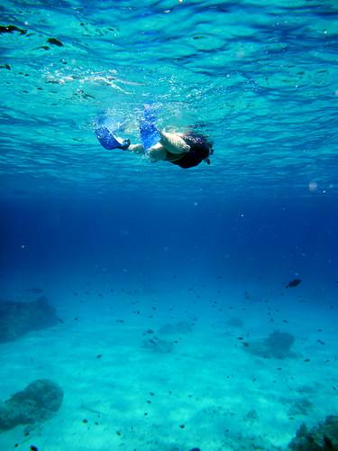 leandra swimming away