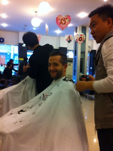 Having a haircut in China