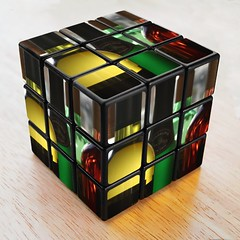 Bottles on a Rubik's cube