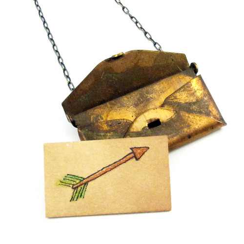 Loved Letter Envelope Locket With Arrow Drawing