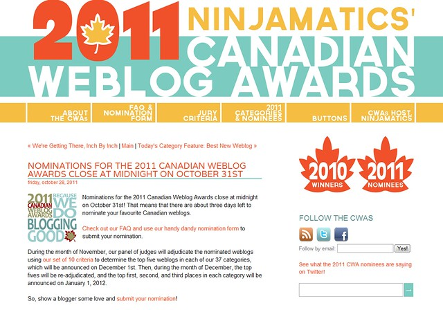 Ninjamatics' Canadian Weblog Awards