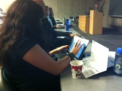 My good friend Dr. @JanniAragon demonstrates how to use an i-Pad to attend and live tweet a conference meaningfully :)