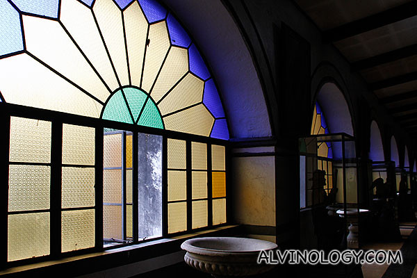 Tinted arch-shaped windows
