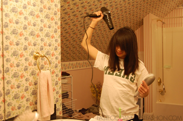 drying hair