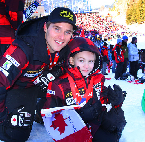 Brad Spence with his Wengen sponsor - eight-year-old Gage Ferguson.
