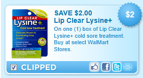 On One (1) Box Of Lip Clear Lysine+ Cold Sore Treatment. Buy At Select Walmart Stores. Coupon
