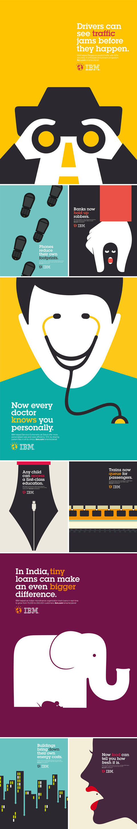 Noma Bar's Outcomes illustrations for IBM's Smarter Planet campaign