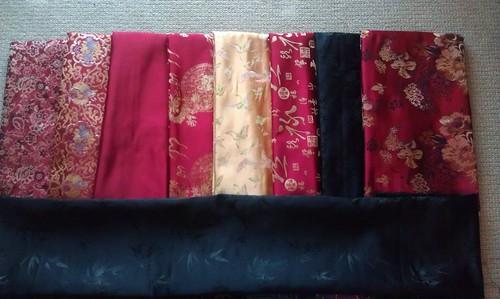 silk brocades: reds