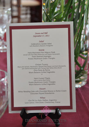 Wedding Menu Card at Whitehall Manor