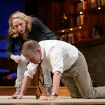 Edward's (Brian Leahy) illness takes a turn for the worse as Sarah (Therese Barbato) tries to offer comfort in the Huntington Theatre Company's production of