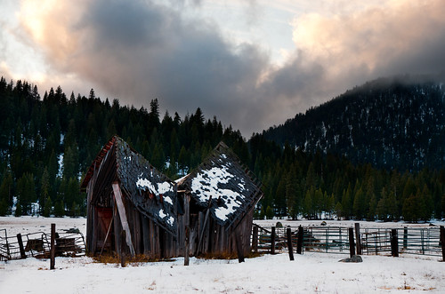trees sunset snow barn forest landscape corral childsmeadow