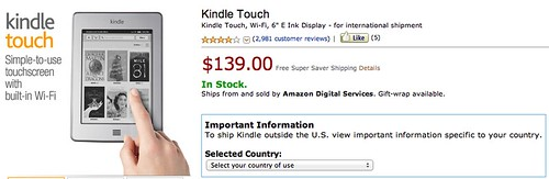 Kindle Touch WIFI available international shipment