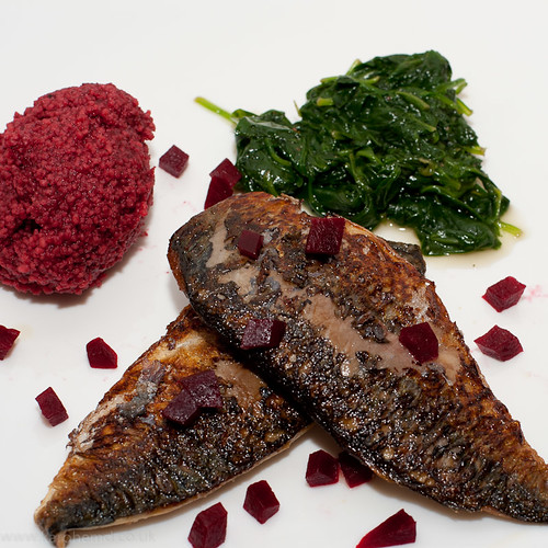 Pan fried Mackerel, Beetroot Couscous, Spinach