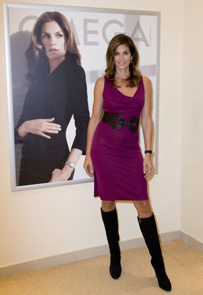 Cindy Crawford Wears Knee High Boots