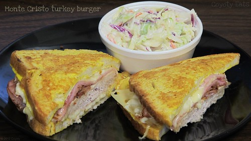 Monte Cristo turkey burger and cole slaw by Coyoty