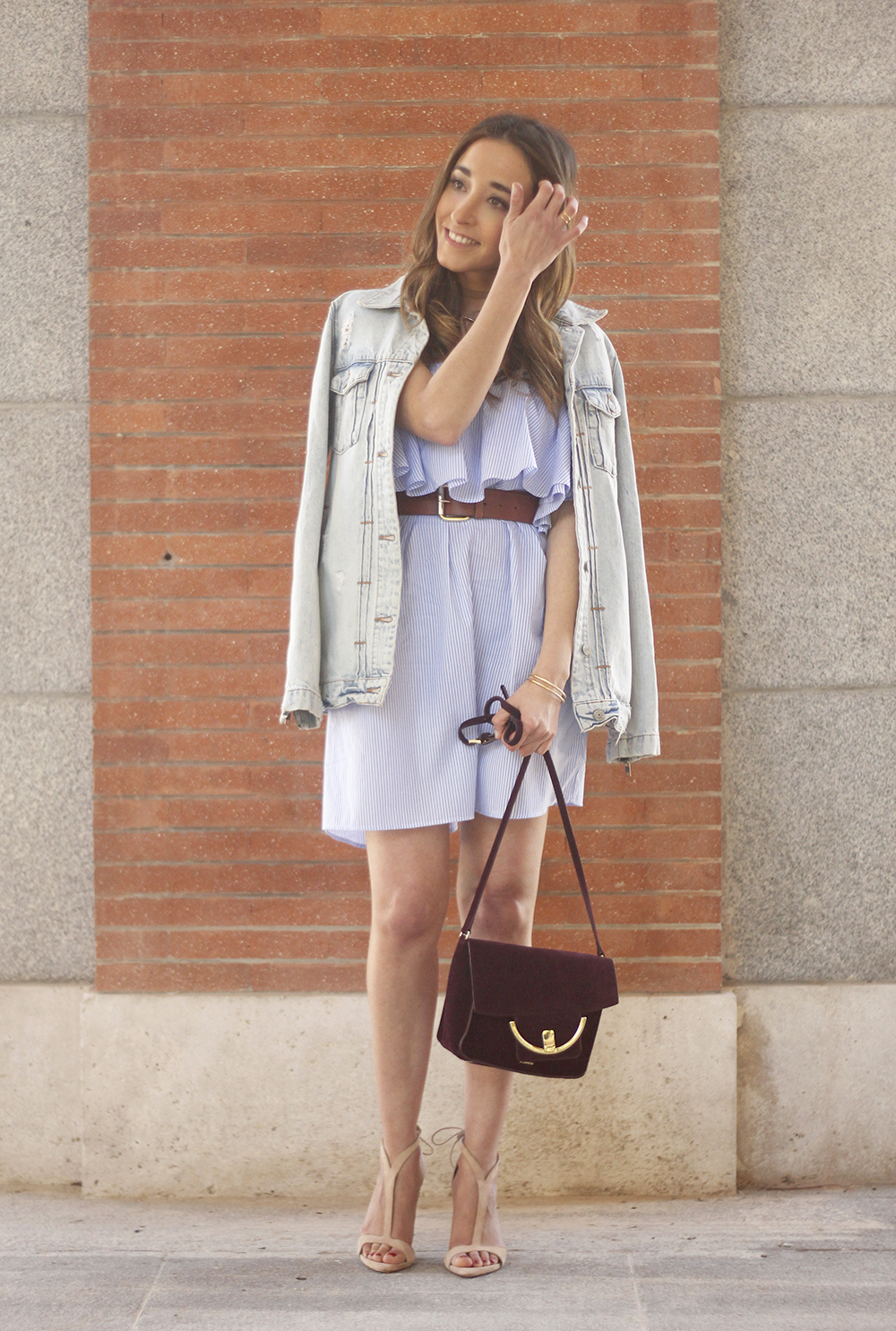 Striped Off The Shoulder Dress spring outfit fashion uterqüe bag nude sandals09