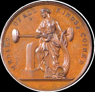 1876 Medal of Moneta with screw press by Charles Stubenrauch