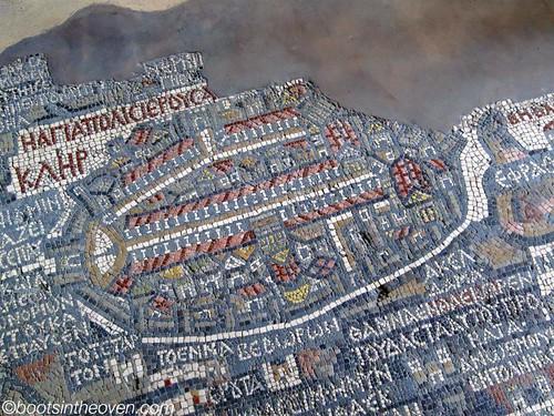 Closeup of Jerusalem on the Mosaic Map