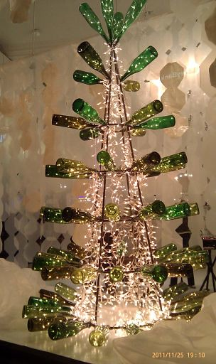 Downtown portland wine bottle christmas tree flickr for How to make a wine tree