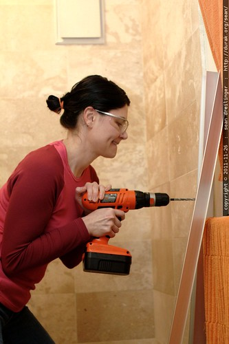 rachel drilling our bathroom wall    MG 2844