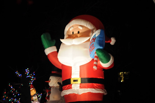 santa on one side of the street
