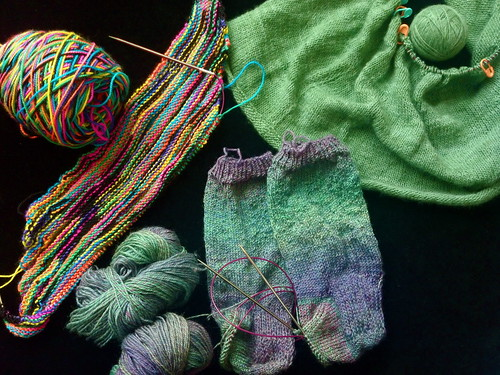 Knitted works in progress