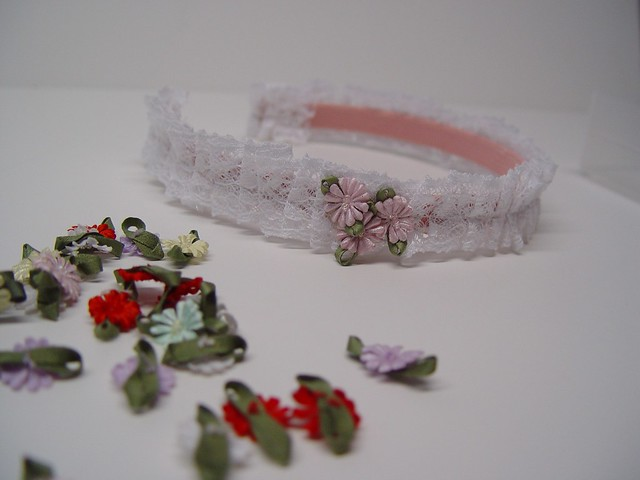 pleated lace headband, view 7