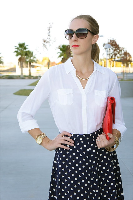 White blouse with polka dot skirt