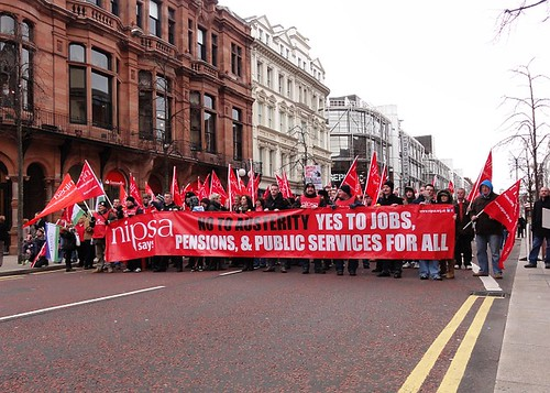 NIPSA Union members at Belfast Strike Rally
