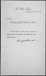 Message of President Dwight D. Eisenhower nominating T. Keith Glennan of Ohio to be Administrator of the National Aeronautics and Space Administration (NASA), 08/08/1958