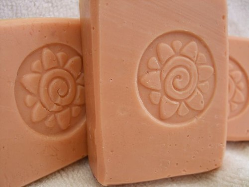 pale pink soaps with spiral flower stamps