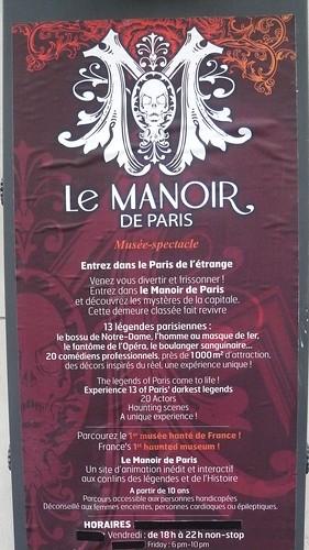 Sign at entrance to Le Manoir, Paris