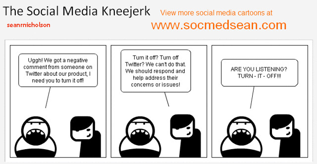Social Media Cartoon - Social Media Kneejerk