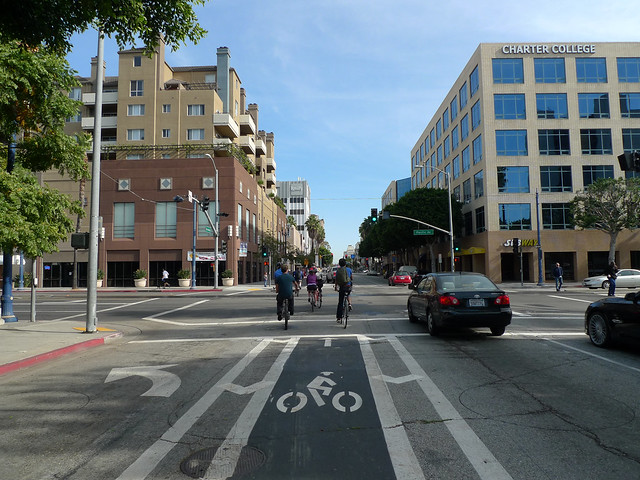 Dedicated bike lanes in downtown