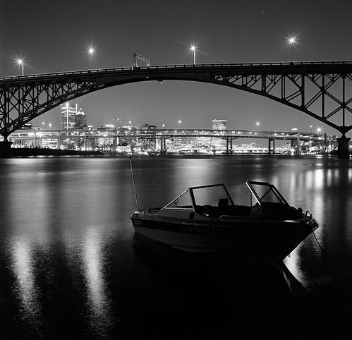 city bridge urban bw film architecture night oregon river square portland boat arch hasselblad pdx curve span rossisland bluemooncamera
