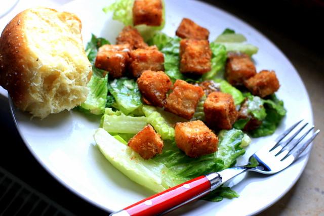 Chicken Fried Pork Belly Confit Caesar Salad   Flickr - Photo Sharing!