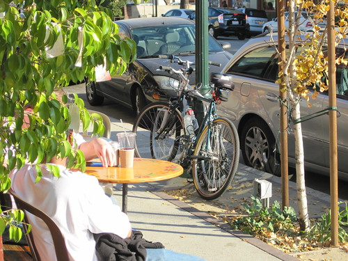 Bikes locked to a lamp post in front of Buster's Coffee Shop in South Pasadena on Mission Street