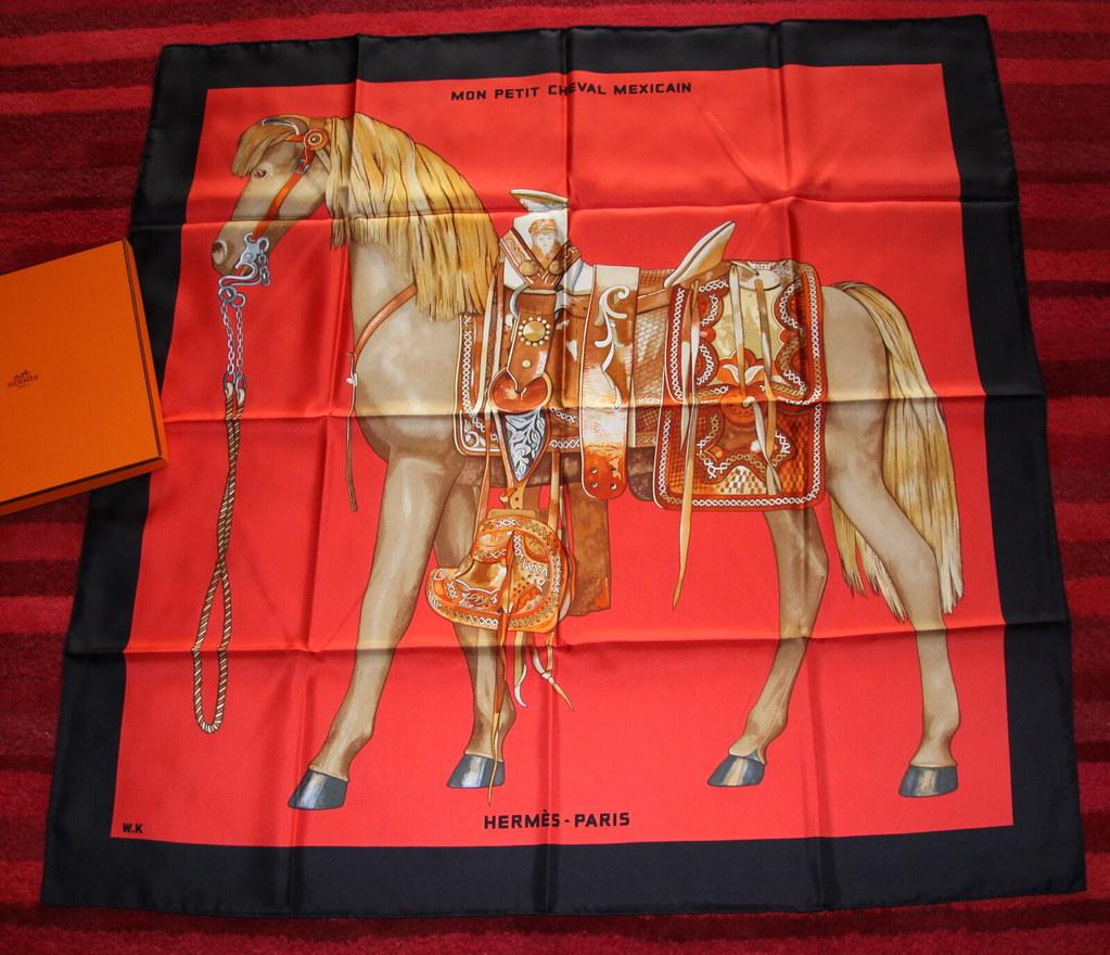 FOULARD HERMES AUTHENTIC BOX REGALO NUOVO SILK SCARF MON PETIT CHEVAL  Hermes Silk Scarf Ebay