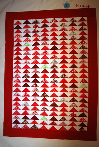 Flying Geese Christmas Quilt Top