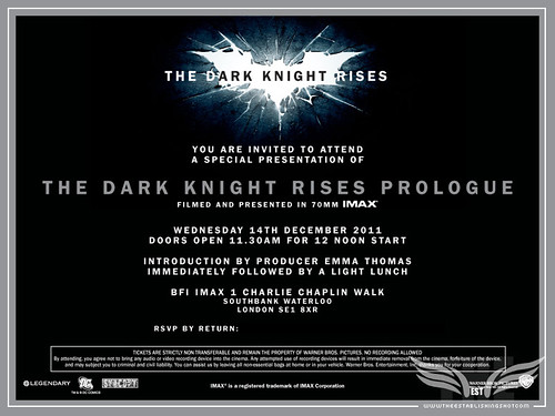 The Establishing Shot: Batman The Dark Knight Rises Prologue IMAX London screening invite by Craig Grobler