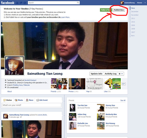 Publish your Timeline in Facebook