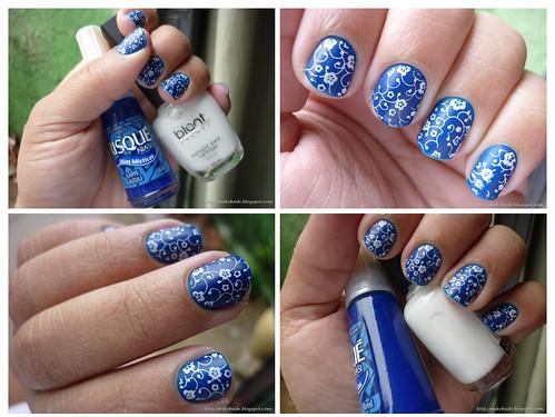 Especial Nail Art - Lapis Lazuli (Risqué) e Branco (Blant Colors)