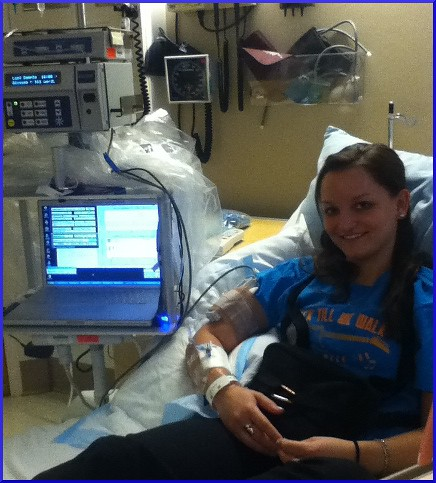 Abby, all hooked up to the system.