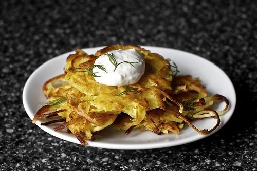 parsnip latkes with horseradish, dill