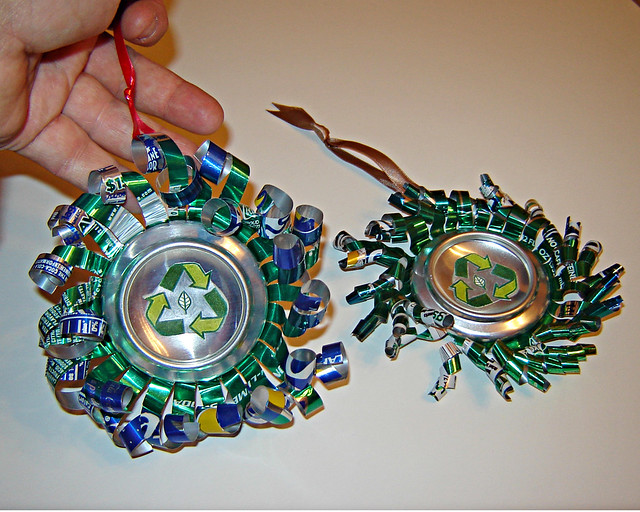 Aluminum can ornaments recycled of course i gave