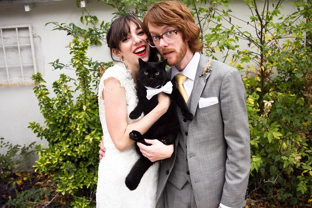 cat wedding, cat with couple, ceremony, texas weddings, photojournalism, photos, portraits, reception, austin wedding photographer, weddings, apw, a practical wedding