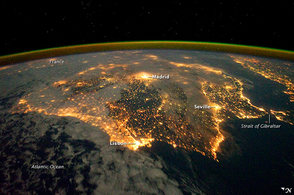 Iberian Peninsula at Night (NASA)