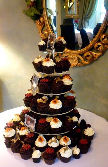 Brown and red christmas themed wedding cupcake tower